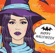 free halloween vector background charming retro witch happy halloween vector illustration pop art