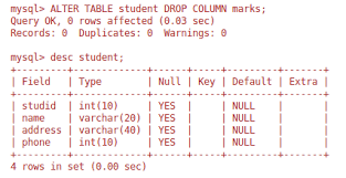 Alter Table Change Column Name Delete Column