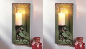 Wall Candle Holders Sconces Buy Set Of 2 Rustic Green Distressed Antiqued Wooden And Metal