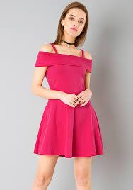 dress pink cold shoulder skater dress pink online women s dresses