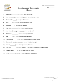 45 free esl countable and uncountable nouns worksheets