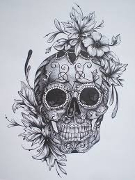 sugar skull flower crown drawing clipartxtras