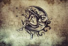 fairy sitting on the moon tattoo sketch handmade design over
