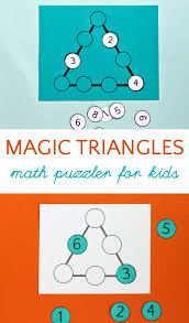 magic triangle math puzzle for kids