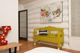 magnificent log cabin interior styles using abstract oil painting