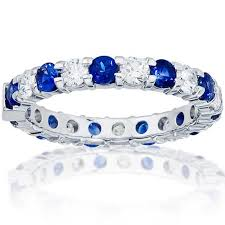 Diamond Sapphire Wedding Ring by Wedding Bands For Her At Bernie Robbins Jewelers