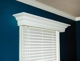 house window using blind and white wooden cornice decorative