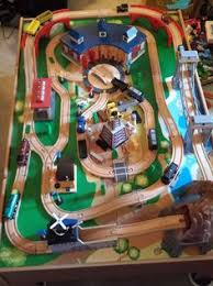 thomas the train wooden track table image of wooden train track table set amazoncom 62 piece wooden