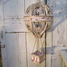air balloon hanging home decor wood and wire birdcage