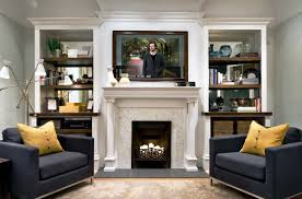 family room designs with fireplace great family room decor with classic white fireplace and display