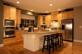 modern dark brown wooden kitchen island for kitchen interior