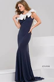 blue long fitted sleeveless stretch scuba evening gown with ruffle