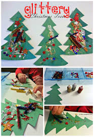 glittery christmas tree collages for toddlers where imagination