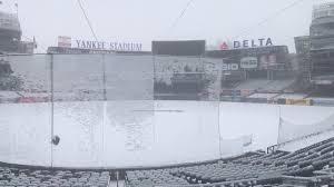 yankee stadium home run lights the snow at yankee stadium on opening day newsday