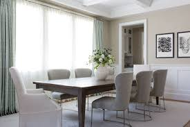 Dining Table With Grey Chairs Walnut Stained Dining Table With Gray Linen Dining Chairs