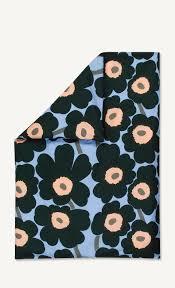 unikko duvet cover 150x210cm light blue dark green peach