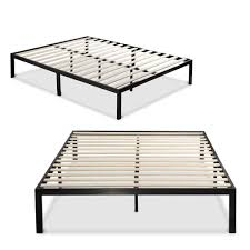 full metal platform bed frame with wooden mattress support slats