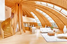 wood interior homes flying saucer shaped house takes design to new heights