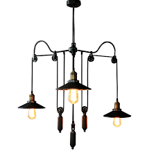 industrial pendant lights for cafe bar retro black white iron cage