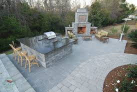 brick concrete outdoor kitchen with fireplace 2349