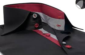 black shirt twisted red and grey houndstooth lining urban collar