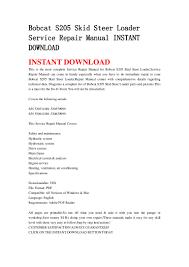 bobcat s205 skid steer loader service repair manual instant download3