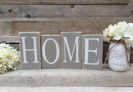 home sign wood home blocks distressed home decor home