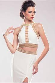 glam society jewel neckline golden beaded trim illusion trendy