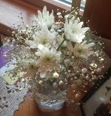 Baby S Breath Centerpiece White Mum And Baby U0027s Breath Centerpiece U2013 Bouquets By Becky