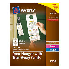 amazon com avery door hanger with tear away cards matte white