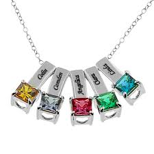 silver necklace name charms images Birthstone necklaces jpg