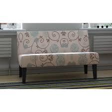 loveseat floral fabric sofa armless birch fabric pine wood seat