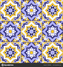 moroccan wrapping paper tiles pattern seamless vector from blue yellow and white