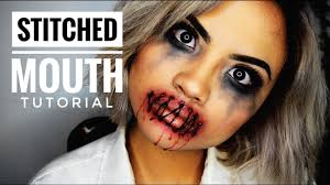 bloody stitched mouth halloween makeup tutorial itskarlawithak