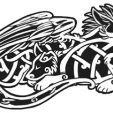 celtic knot tattoo design with wolves and snake