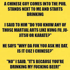Karate Memes - chinese guy comes into the pub funny jokes
