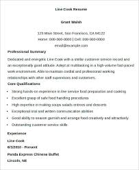 Sample Line Cook Resume by Cook Resumes 9 Free Word Pdf Format Download Free U0026 Premium