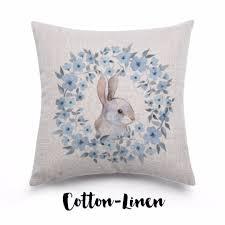floral bunny cotton linen throw pillow cushion cover home