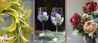silk flower arrangements painted wine glasses silk flowers