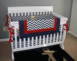 Chevron Boy Crib Bedding Nautical Nursery Bedding Etsy