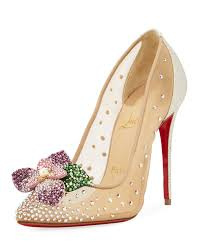 christian louboutin feerica crystal embellished red sole pump
