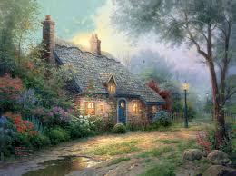 Thomas Kinkade Clocktower Cottage by Moonlight Cottage U2013 Limited Edition Art The Thomas Kinkade Company