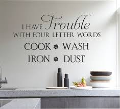 trouble four words hate cleaning quote vinyl wall lettering zoom