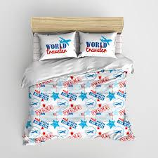 Personalized Comforter Set Custom World Traveler Air Mail Minimalist Kids Bedding
