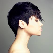 short hairstyles for women showing front and back views this is a side view showing the cut above the ear and the outline