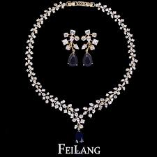 white stone necklace sets images Feilang brand design read 18k gold yellow stone cubic zirconia jpg