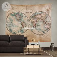 Map Wall Decor by Vintage World Map Wall Tapestry Vintage Interior World Map Wall