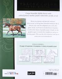 amazon com horses trace line art onto paper or canvas and color