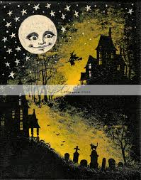 instant printable download halloween full moon witch haunted