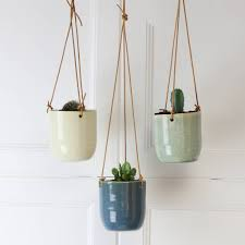 hanging planter with leather strap by marquis u0026 dawe